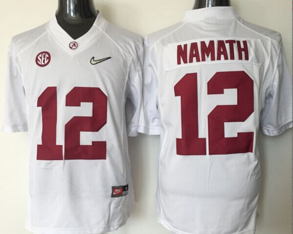 Youth 2016 NCAA Alabama Crimson Tide 12 Namath White Jerseys