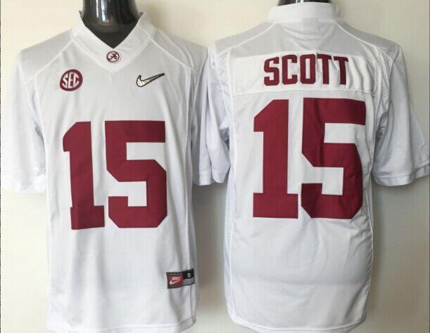 Youth 2016 NCAA Alabama Crimson Tide 15 Scott Whtie Jerseys
