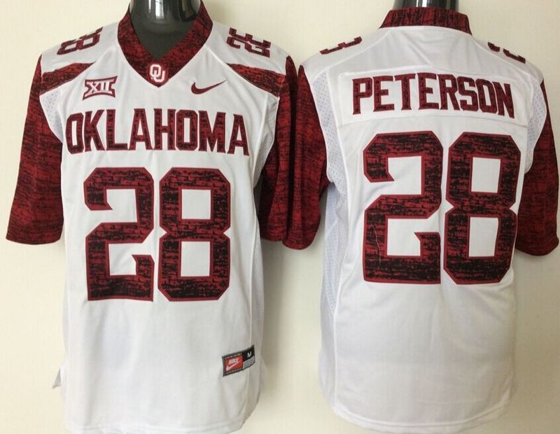 Youth 2016 NCAA Oklahoma Sooners 28 Peterson White Limited Jerseys