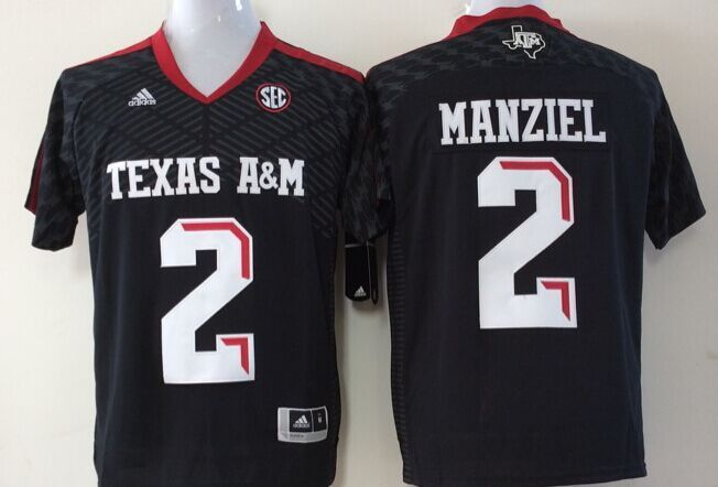 Youth 2016 NCAA Texas A&M Aggies 2 Manziel Black Jerseys