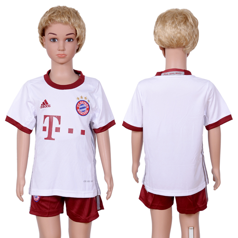 2016-2017 club Bayern Munich second away Blank kids White Soccer Jersey
