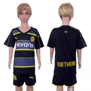 2016-2017 club Dortmund away Kids Black Soccer Jersey