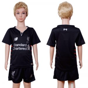 2016-2017 club Liverpool away Kids Black Soccer Jersey