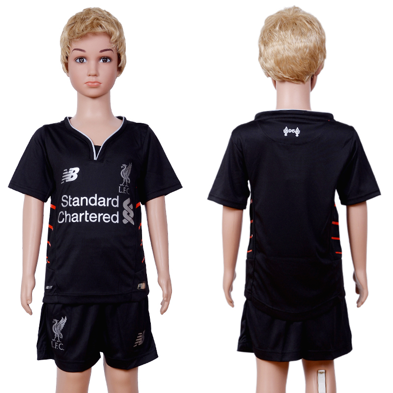 2016-2017 club Liverpool away Kids Black Soccer Jersey