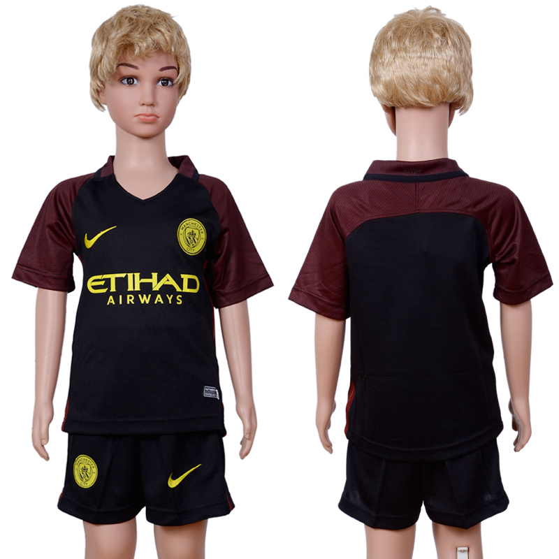2016-2017 club Manchester city away Kids Black Soccer Jersey