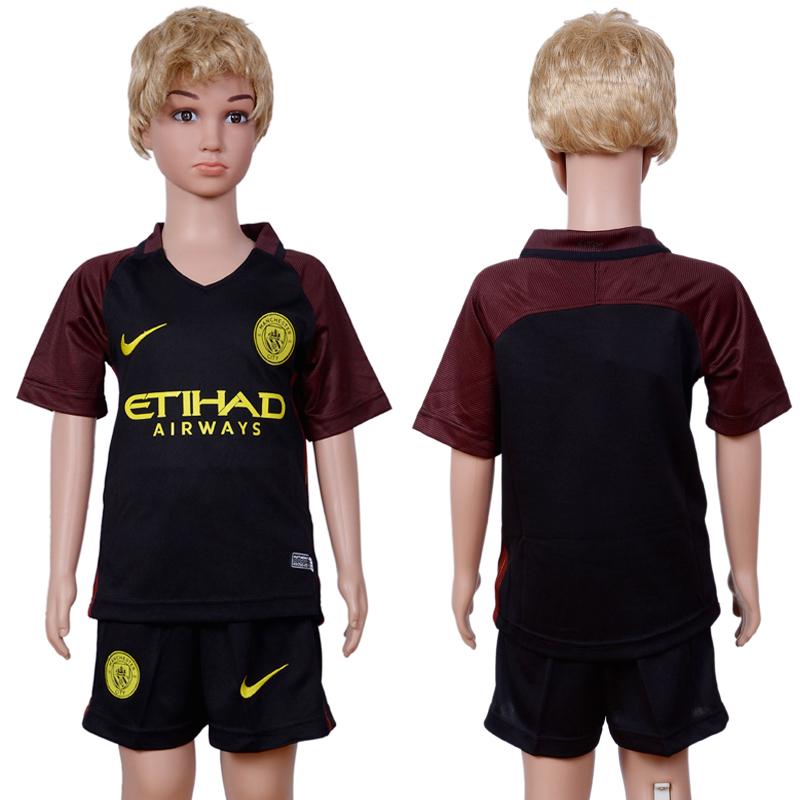 2016-2017 club Manchester city away Kids Black Soccer Jersey