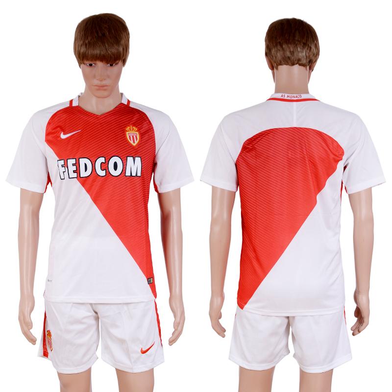 2016-2017 club Monaco home Blank White Soccer Jersey
