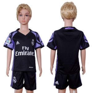 2016-2017 club Real Madrid second away Kids Black Soccer Jersey