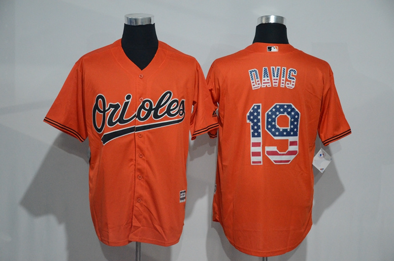 2016 MLB Baltimore Orioles 19 Davis Orange USA Flag Fashion Jerseys