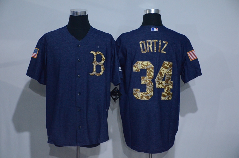 2016 MLB Boston Red Sox 34 Ortiz Cowboy blue camouflage