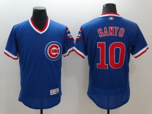 2016 MLB Chicago Cubs 10 Santo Blue Elite Fashion Jerseys