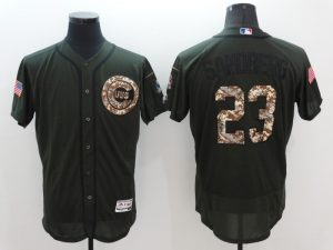 2016 MLB Chicago Cubs 23 Sandberg Green Salute to Service Stitched Baseball Jersey