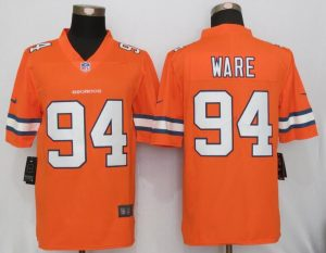 2016 New Nike Denver Broncos 94 Ware Navy Orange Color Rush Limited Jersey