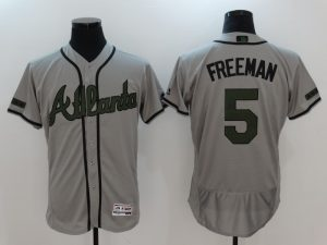 2017 MLB Atlanta Braves 5 Freeman Grey Elite Commemorative Edition Jerseys