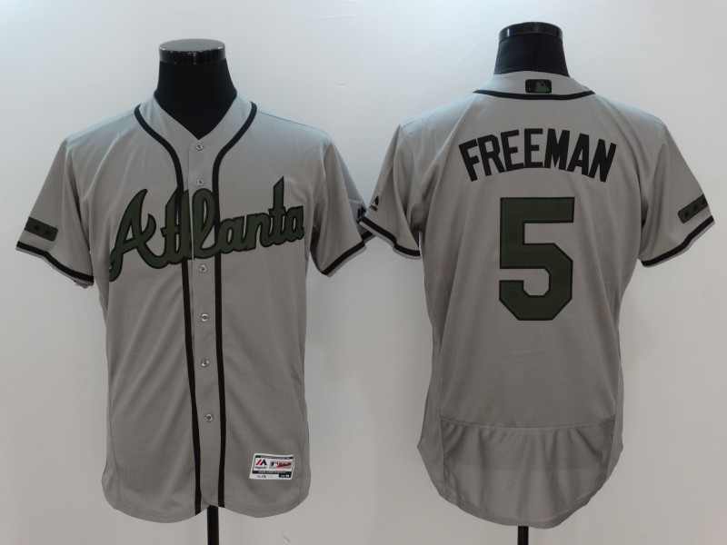2017 MLB Atlanta Braves 5 Freeman Grey Elite Commemorative Edition Jerseys
