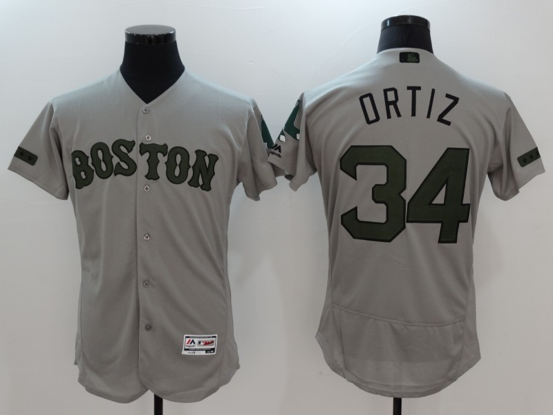 2017 MLB Boston Red Sox 34 Ortiz Grey Elite Commemorative Edition Jerseys