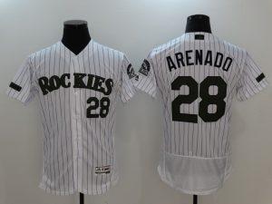2017 MLB Colorado Rockies 28 Arenado White Elite Commemorative Edition Jerseys