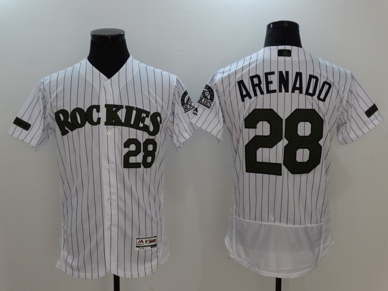 2017 MLB Colorado Rockies 28 Arenado White Elite Commemorative Edition Jerseys