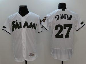 2017 MLB Florida Marlins 27 Stanton White Elite Commemorative Edition Jerseys