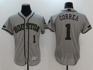 2017 MLB Houston Astros 1 Correa Grey EliteCommemorative Edition Jerseys