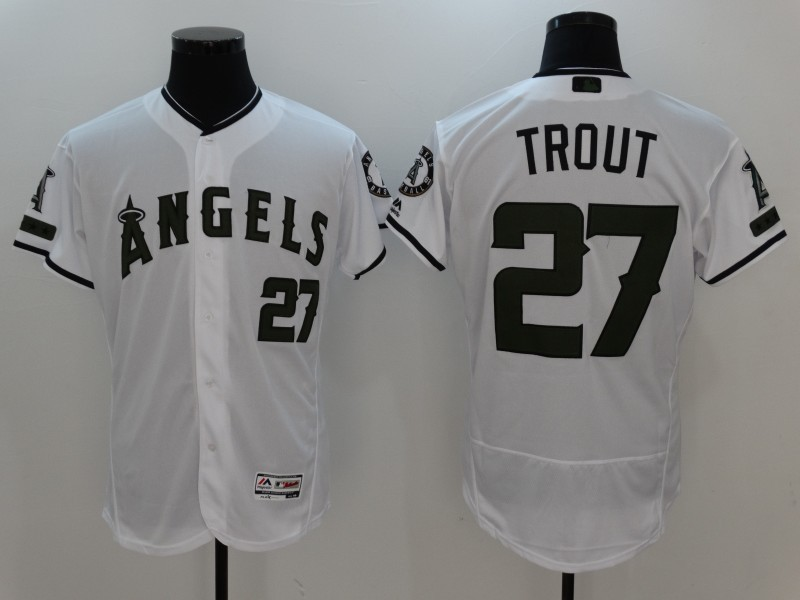 2017 MLB Los Angeles Angels 27 Trout White Elite Commemorative Edition Jerseys