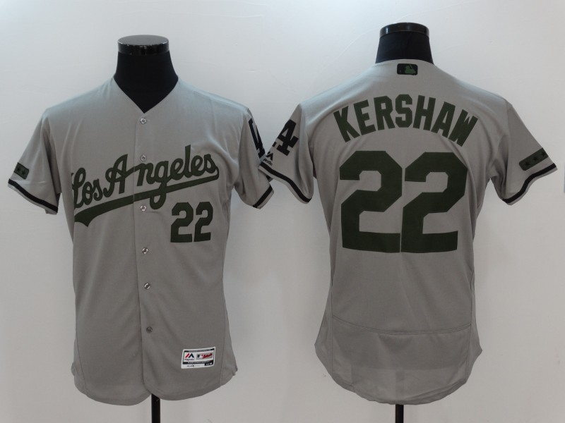 2017 MLB Los Angeles Dodgers 22 Kershaw Grey Elite Commemorative Edition Jerseys