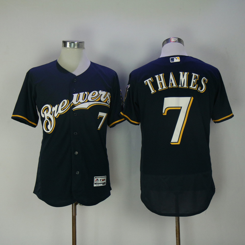 2017 MLB Milwaukee Brewers 7 Thames Blue Elite Jerseys