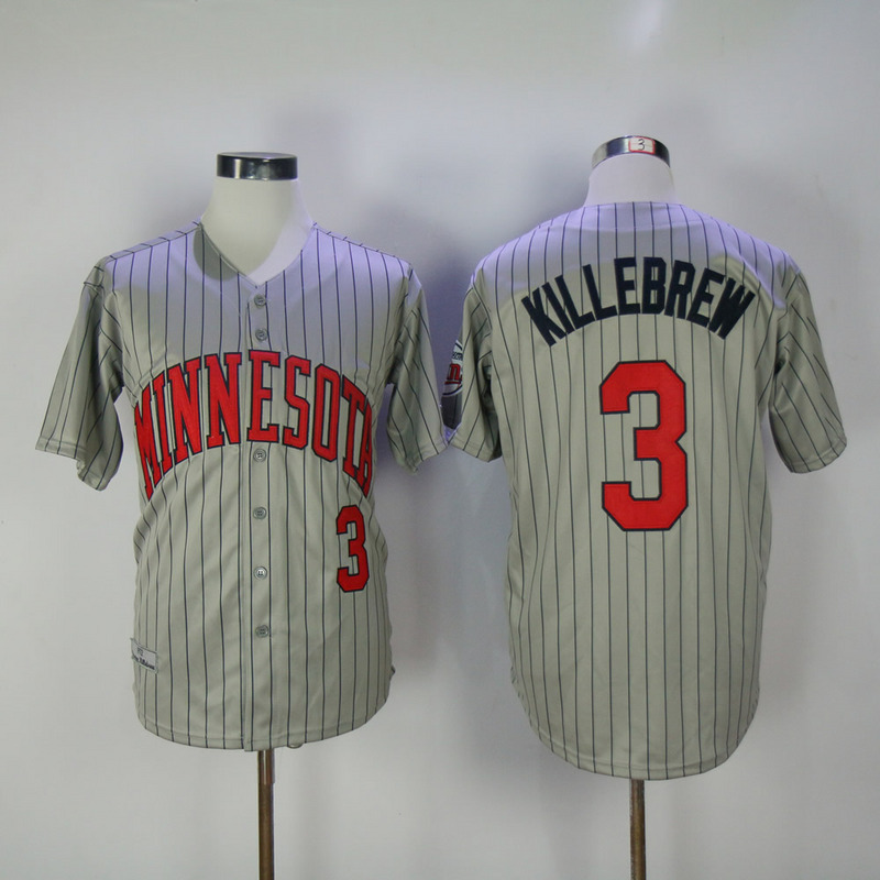 2017 MLB Minnesota Twins 3 Killebrew Grey Throwback Jerseys
