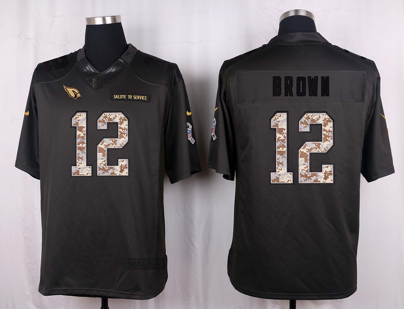 Arizona Cardinals 12 Brown 2016 Nike Anthracite Salute to Service Limited Jersey