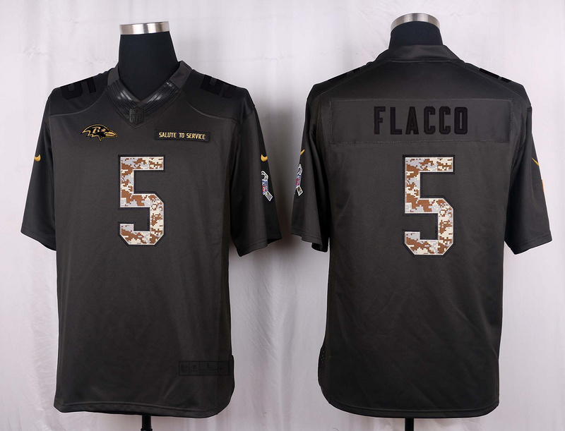 Baltimore Ravens 5 Flacco 2016 Nike Anthracite Salute to Service Limited Jersey