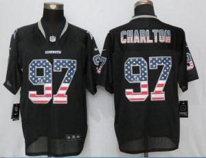 Dallas cowboys 97 Charlton USA Flag Fashion Black New Nike Elite Jerseys