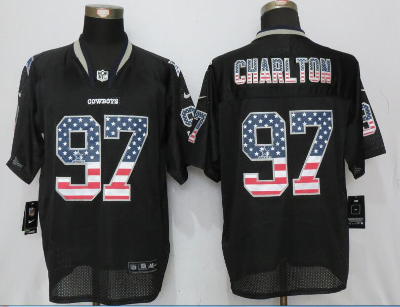 Dallas cowboys 97 Charlton USA Flag Fashion Black New Nike Elite Jerseys