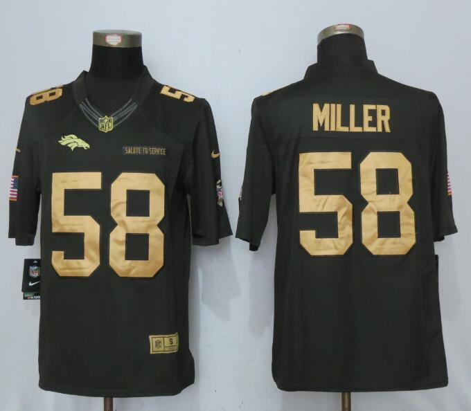 Denver Broncos 58 Miller Gold Anthracite Salute To Service NEW Nike Limited Jersey