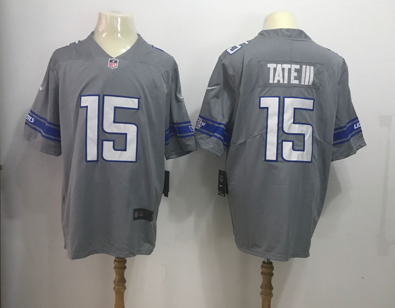 Detroit Lions 15 Golden Tate II Grey Rush Limited Jerseys