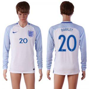 European Cup 2016 England 20 BARKLEY Home White long sleeve AAA+ Soccer Jersey