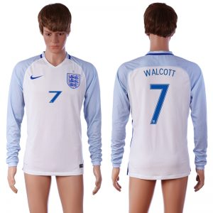 European Cup 2016 England 7 WALCOTT Home White long sleeve AAA+ Soccer Jersey
