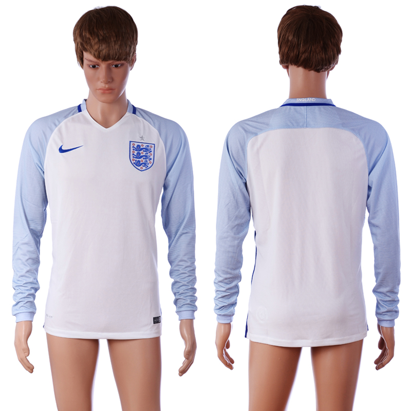 European Cup 2016 England Blank Home White long sleeve AAA+ Soccer Jersey