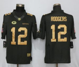 Green Bay Packers 12 Rodgers Gold Anthracite Salute To Service New Nike Limited Jersey
