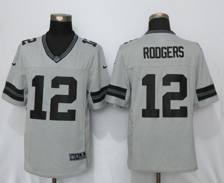 Green Bay Packers 12 Rodgers Nike Gridiron Gray II New Nike Limited Jersey
