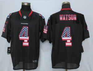 Houston Texans 4 Watson USA Flag Fashion Black New Nike Elite Jerseys