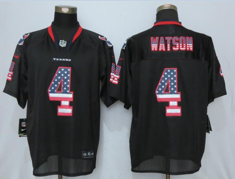 Houston Texans 4 Watson USA Flag Fashion Black New Nike Elite Jerseys