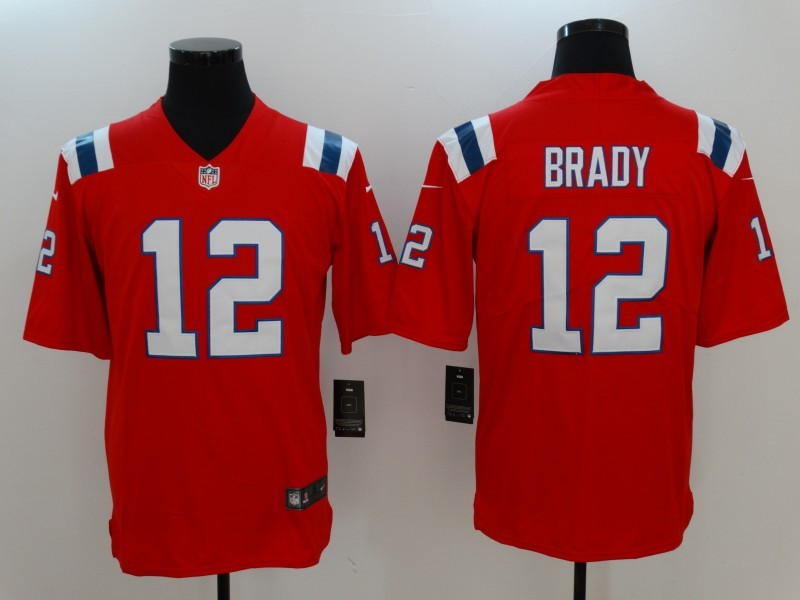 Men New England Patriots 12 Brady Red Nike Vapor Untouchable Limited Jersey