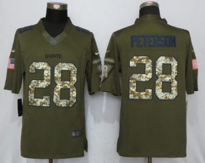 New Orleans Saints 28 Peterson Green Salute To Service New Nike Limited Jersey