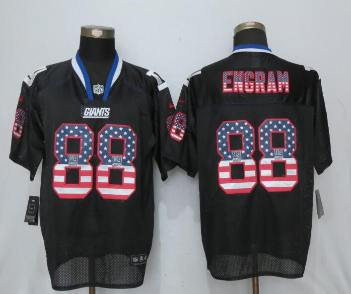 New York Giants 88 Engram USA Flag Fashion Black New Nike Elite Jerseys
