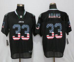 New York Jets 33 Adams USA Flag Fashion Black New Nike Elite Jerseys