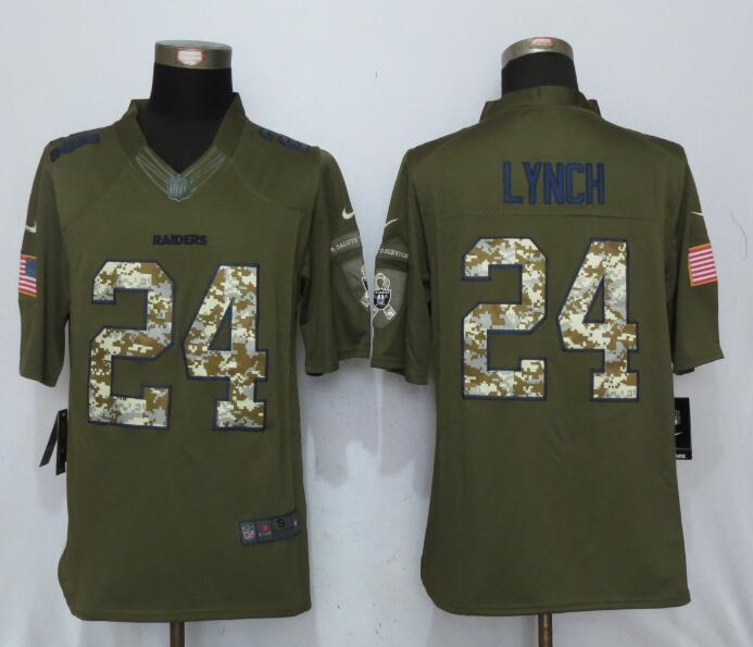 Oakland Raiders 24 Lynch Green Salute To Service New Nike Limited Jersey