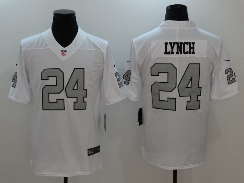 Oakland Raiders 24 Lynch Platinum White Limited Jerseys