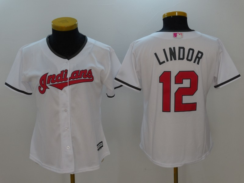 Womens 2017 MLB Cleveland Indians 12 Lindor White Jerseys1