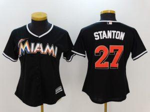 Womens 2017 MLB Florida Marlins 27 Stanton Black Jerseys
