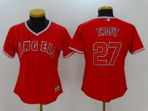 Womens 2017 MLB Los Angeles Angels 27 Trout Red Jerseys